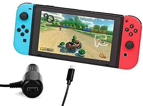 Lioncast Kfz Ladekabel für die Nintendo Switch Konsole/Switch Lite   Auto Reise Ladegerät USB-C   USB-A Port
