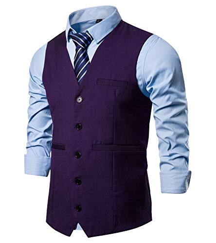 AOYOG Mens Formal Business Suit Vests 5 Buttons Regular Fit Waistcoat for Suit or Tuxedo Purple