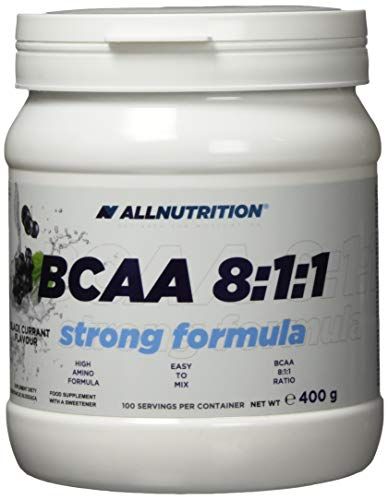 All Nutrition Strong Formula 8-1-1 BCAA Amino Acid Powder for Muscle Bodybuilding, Black Currant