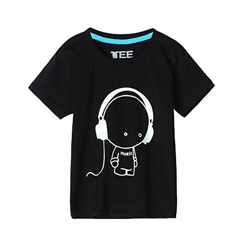Lonshell Camiseta Camiseta Fluorescente Ropa para Padres y niños sección para niños Aptos para familias niños Auriculares de Manga Corta Niños Camiseta de Moda de impresión Tops