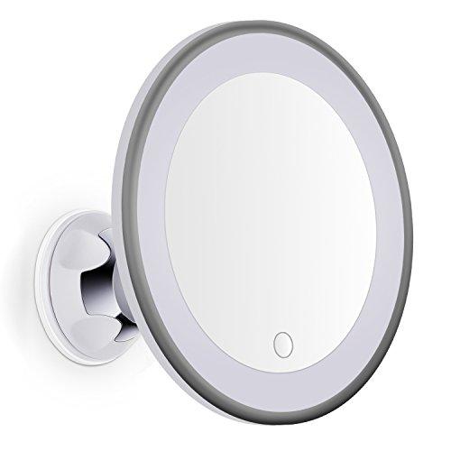 Bornku Miroir Grossissant Lumineux x7 LED B60 Miroir Maquillage Intensité de la Lumière Réglable et Succion Ventouse pour Salle De Bain/Rasage