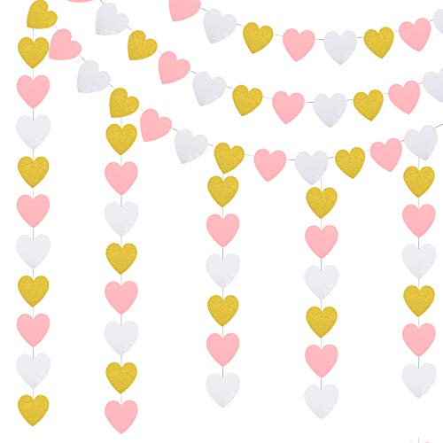 ZERHOK Paper Heart Garland, 3 pack Heart Hanging Banners Heart Shaped Decorative Bunting for Valentine's Day Anniversary Wedding Bridal Shower Engagement Bachelorette Room Decor