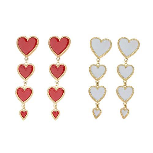 MYhose 2 Pairs Enamel Heart Dangle White Red Heart Drop Earrings Women Fashion Jewelry Fashion Earrings Red White