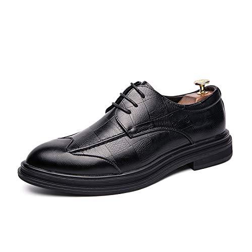 JEOSNDE Zapatos Oxford for el Partido Salir con Hombres Cuero de la PU de Baja la Tapa del Vestido de Moda de los Holgazanes Acogedor Suave Antideslizante Flat Lace Up Easy Care