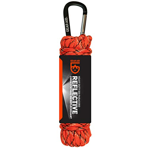 GEAR AID 550 Paracord and Carabiner 7 Strand Utility Cord for Camping and Survival Orange Reflective 30 ft