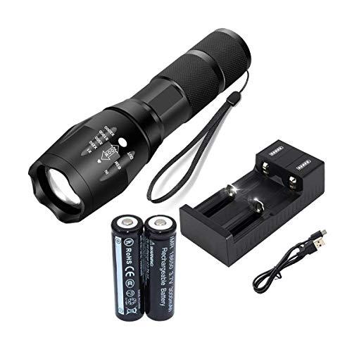Double chargeur USB avec lampe torche LED T6 à zoom 5 modes, et 2 piles rechargeables 18650