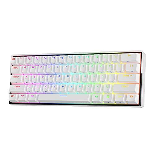 KEMOVE Snowfox 60% Mechanische Gaming-Tastatur Bluetooth 5.1 Kabellos/Verkabelte 61 Tasten Computer-Tastatur RGB Hot-Swap-fähige PBT-Tastenkappen, QWERTY Layout (Brauner Schalter)