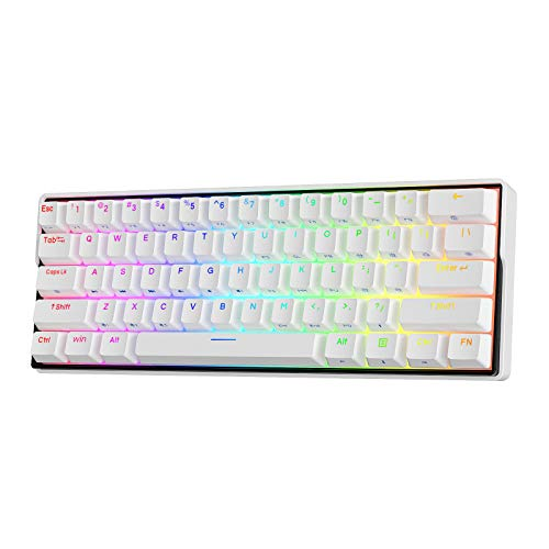 KEMOVE 61 Snowfox Bluetooth 5.1 Wireless/Wired 60% RGB Mechanical Gaming Keyboard - Hot Swappable...