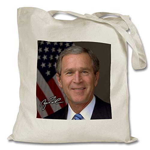 George W. Bush 1 Personalised Printed Tote Bag - Shopping - Shoulder - Tote Bag - Autographed Print