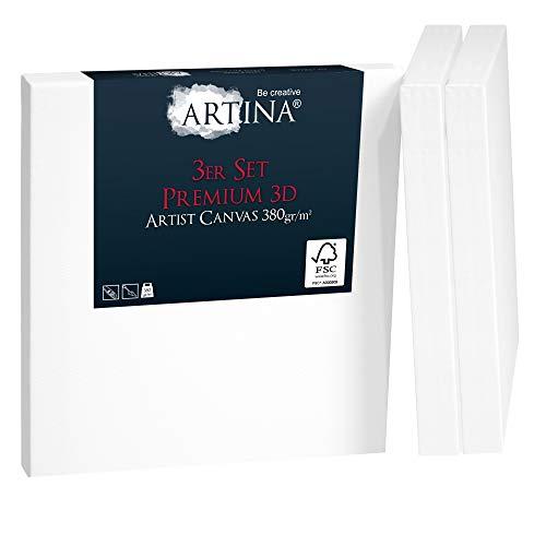 Artina 3er Set FSC® 3D Premium Keilrahmen Leinwand 30x30 cm - 100% Baumwolle Leinwand weiß - Leinwände Set 380g/m²