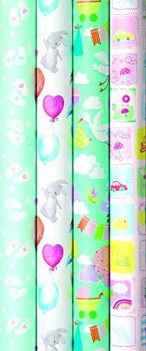 4 Rollen Premium Geschenkpapier, Baby, Taufe, Geburtstag 2m x0,7m