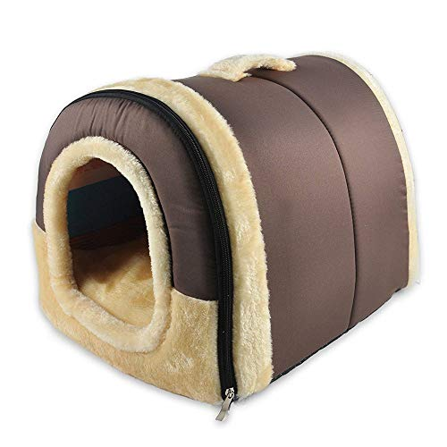 ManxiVoo Pet Dog Cat Bed House Warm Mat Bedding Igloo Basket Kennel Room Bed (L, Brown 2)