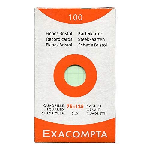 Exacompta Bristol Squared Record Cards, 75 x 125 mm - Assorted Colours, Pack of 100