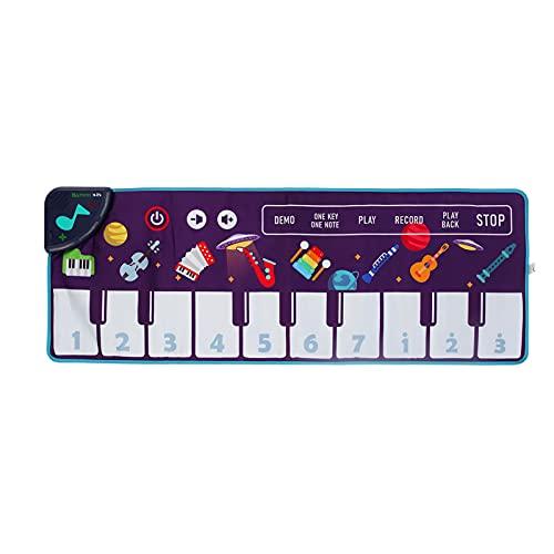 Tapete de Piano Musical Infantil - 100 X 36 cm Dobrável Tapete de Jogo de Teclado Tapetes de Dança Instrumentos Musicais Primeiros Brinquedos Educativos para Crianças a Partir de 3 Anos(CP4972)