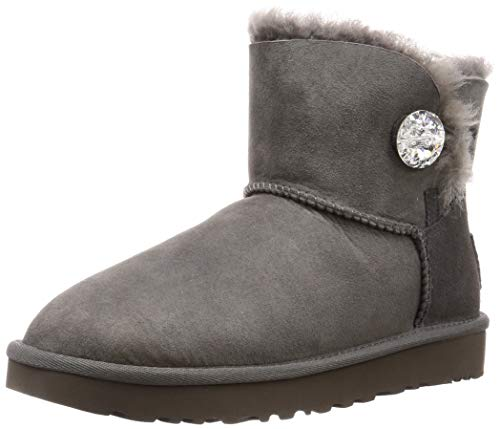 UGG Female Mini Bailey Button Bling Classic Boot, Grey, 5 (UK)