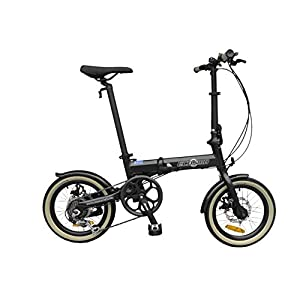 Folding Bikes K+POP 16″ Lightweight Alloy Folding City Bike Bicycle,6 SP,Dual Disc brakes – 16AF02BL [tag]