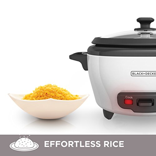 BLACK+DECKER RC506 6-Cup Cooked/3-Cup Uncooked Rice Cooker and Food Steamer, White
