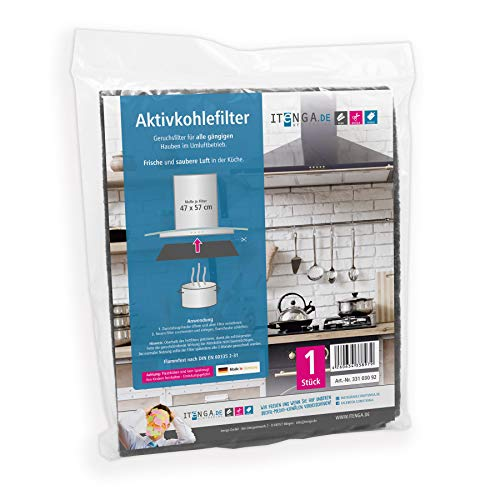 itenga Universal Filter Kohlefilter Aktivkohle und Fettfilter Dunstabzugshaube Umlufthaube Ablufthaube zuschneidbar umweltfreundlich kompostierbar 47x57cm (Aktivkohlefilter)