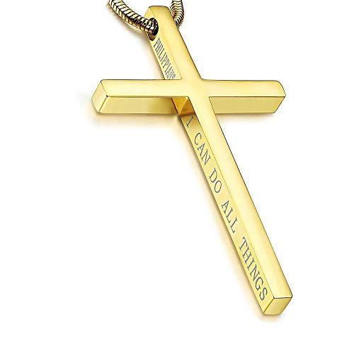 Philippians Cross Pendant Necklace for Men Women Stainless Steel Necklace Snake Chain 22 in (Golden Tone)