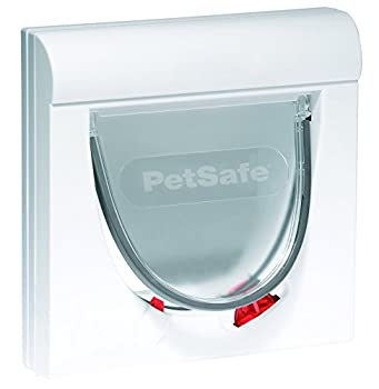 PetSafe - Chatière Magnétique pour Chat Classique Staywell - Verrouillage à 4positions avec Tunnel d'extension Fixe - Blanc