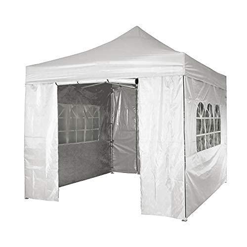 Tagge Carpa con lados impermeable, con 4 paneles laterales, totalmente impermeable, para fiestas, con marco de acero recubierto de polvo (3 x 3 m, blanco) (3 x 6 m), color blanco