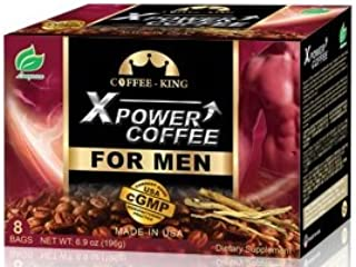 X-Power Coffee for Men Instant Tongkat Ali Ginseng Coffee All Natural Male Enhancement Energy Boosting, 8 Bags
