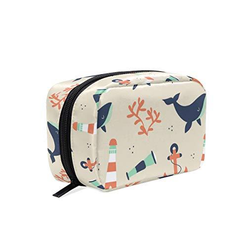LORONA Leuke zeeman patroon met walvis en elementen cosmetische zak koppeling make-up tas reisorganisator case toilettas voor vrouwen