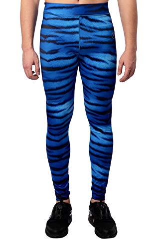 Kapow Männer Performance Leggings mit Taschen, Compression Activewear für Yoga, Workout, Laufen, Gym, Bunte Base Layer, Sporthosen (Tiger Shark, M)