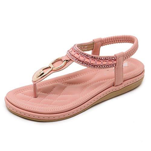 KODH Sandali Piatti da Donna Summer Bohemia T Word con Open Toe Ladies Sandali da Spiaggia Elastici Cinturini alla Caviglia Scarpe Romane (Color : Pink, Size : 35)