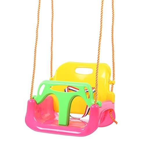 Outdoor 3 en 1 Swing de espalda alta Conjunto Cubo completo Asiento para juegos exteriores Parque de juegos de seguridad y salud Ofrece seguridad adicional y confort fácil de montar ( Color : Pink )