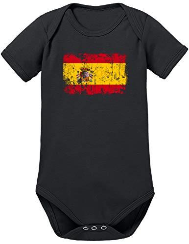 TShirt-People - Body para bebé, diseño de bandera de España negro 0-3 Meses