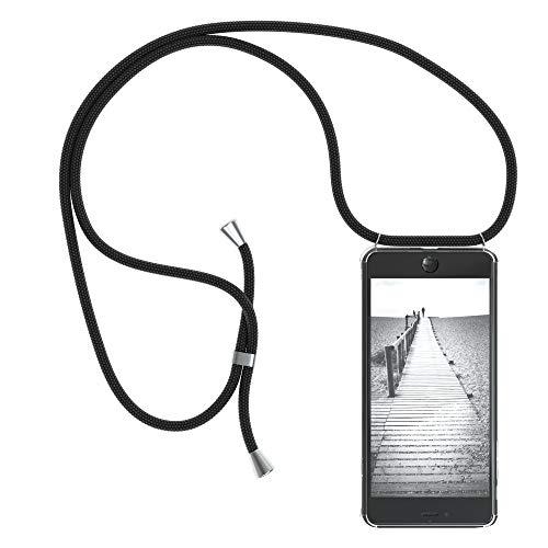 EAZY CASE Handykette kompatibel mit iPhone 7 Plus / 8 Plus Handyhülle mit Umhängeband, Handykordel mit Schutzhülle, Silikonhülle, Hülle mit Band, Stylische Kette mit Hülle für Smartphone, Schwarz