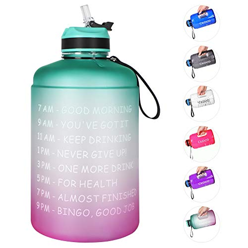 Opard Gallone Wasserflasche mit Zeitmarkierungs-Stroh und Griff, 3,7 l, BPA-frei, motivierend, große Sport-Trinkflasche für Fitnessstudio, Fitness (8-1 Cyan und Violett)