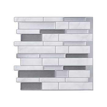 Tack Tile Peel & Stick Vinyl Backsplash Thick Mosaic Grey  Pack of 3