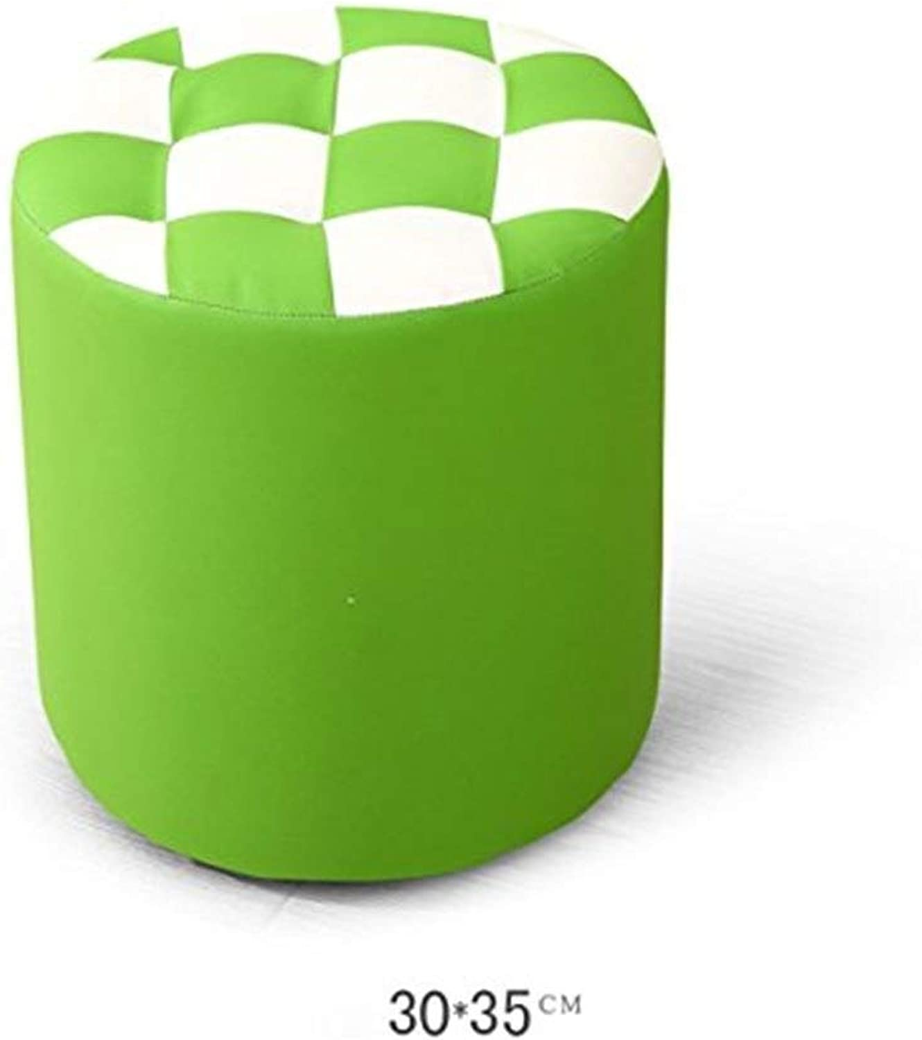 Cortex Round Block Modern Fashion Simple Creative Sofa Living Room Bedroom Stools shoes Change Stool FENPING (color   Green)