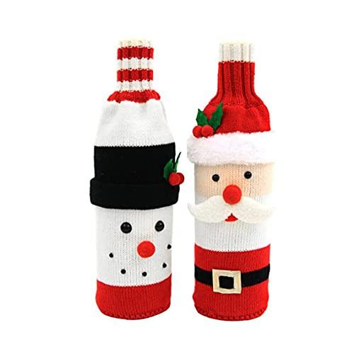 Ohomr Suéter Vino de Navidad Cubiertas de Botellas de Vino suéter Cubierta de Santa muñeco de Nieve y el Vino Tinto Botella del Bolso de la Fiesta del suéter de Las Decoraciones de Navidad