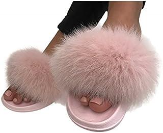 09f45c0bbb9c Real fur fox Slippers Slides Sandals flat Flip Flops