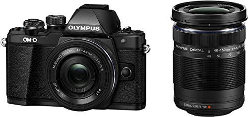 Olympus OM-D E-M10 Mark II Kit, Micro Four Thirds Systemkamera (16 Megapixel, 5-Achsen Bildstabilisator, elektronischer Sucher) + M.Zuiko 14-42mm EZ Zoomobjektiv + M.Zuiko 40-150mm Telezoom, schwarz