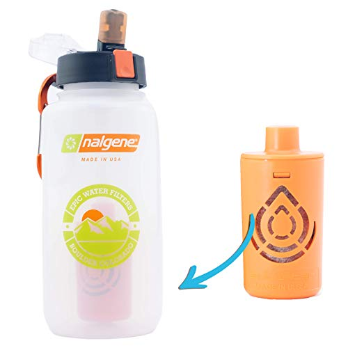 Epic Nalgene Ultimate Outdoor Travel OG | Water Bottle with Filter | Bottle + Filter Made In USA | Filtered Water Bottle | Water Purifier | International Travel | Camping Hiking Backpacking | BPA Free