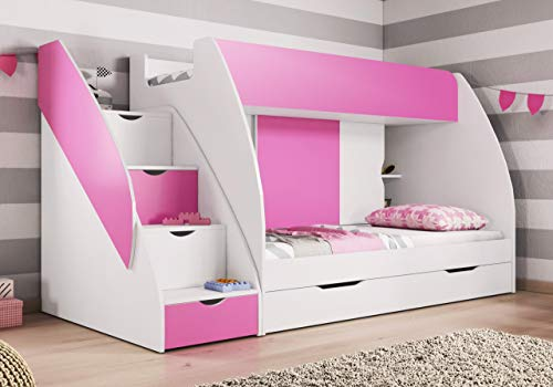 Kids bunk Bed Martin Perfect Design Storage Under Steps (Pink) Quick DELIVERY