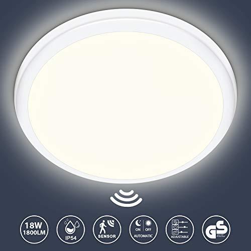 LED Deckenleuchte mit Bewegungsmelder 18W, 1800LM LED Deckenlampe mit Dämmerungssensor, IP54 Wasserfest Sensorlampe Für Flur Treppen Lager Garage Balkon Keller, Neutralweiß 4000K, Ø25cm