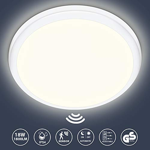 LED Deckenleuchte mit Bewegungsmelder und Dämmerungssensor, Oraymin 18W 1800LM Neutralweiß 4000K IP54 Wasserdicht Rund Deckenlampe Ø25cm, ideal für Badezimmer Schlafzimmer Küche Wohnzimmer