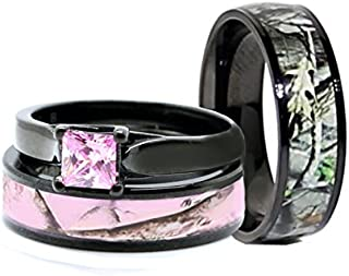 His & Hers Black Camo Wedding Ring Sets - Camo Wedding Band - Engagement Ring Set - Wedding Rings - Wedding Rings - Camo Rings for Women - Camo Rings for Men - Wedding Ring - His and Hers Rings