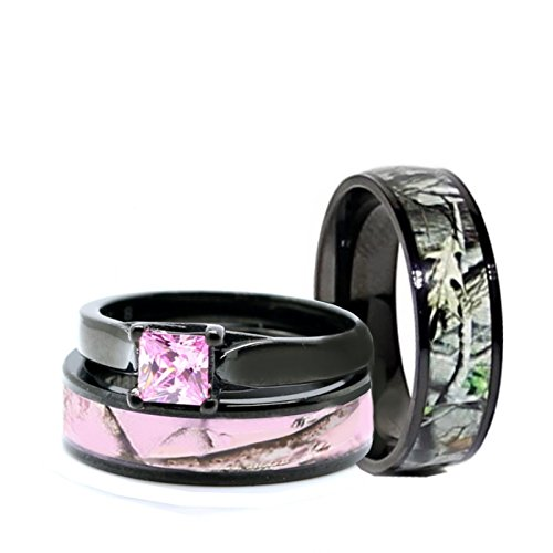His & Hers Pink Women`s & Men`s Black Titanium Camo and Stainless Steel Princess Engagement Wedding Rings Set (Size His 10, Hers 07)