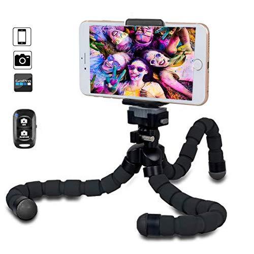 BOBO-Y Trípie para Celular, Trípode para Celular Mini tripie Flexible con Bluetooth Control Remoto,Octopus Tripod para iPhone, Samsung, Huawei, Xiaomi, cámara y GoPro [ACTUALIZADO]