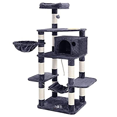 """feandrea 69"""" Multi-Level Cat Tree with Feeder Bowl, Sisal-Covered Scratching Posts, Hammock, Basket and Condo, Cat Furniture for Kittens - Large from FEANDREA"""