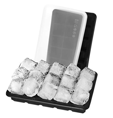 Purseek 2er-Set mit Deckel für gekühlte Getränke, Whiskey, Eismulden, flexibles Silikon, 3,3 cm, 18/8 Edelstahl