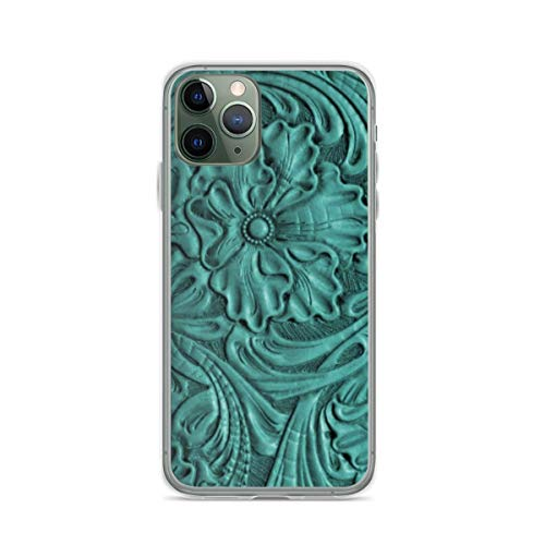 Phone Case Teal Flower Tooled Leather Compatible with iPhone 6 6s 7 8 X XS XR 11 Pro Max SE 2020 Samsung Galaxy Anti Shockproof Absorption