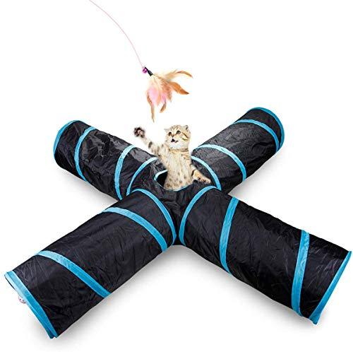 RCruning-EU Katzenspielzeug Katzentunnel Faltbarer 4-Wege-Spiel Tunnel 1PCS katzenspielzeug Feder mit Aufbewahrungstasche Katzen Spielzeug Set Indoor und Outdoor