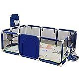 Giow Parque Infantil Valla para niños Divisor de habitación portátil Plegable Barrera de Seguridad Plegable Extensible Patio de Juegos con tapete, Azul
